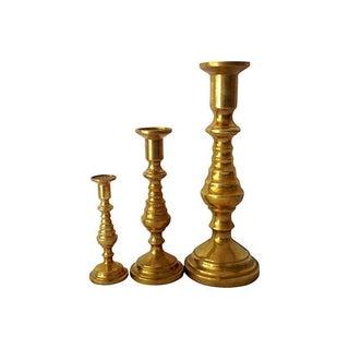 Antique Brass Candlesticks - Set of 3 For Sale
