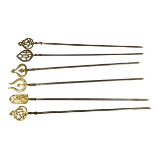 Vintage Spanish Brass Tipped Shish Kabob BBQ Skewers - Set of 6