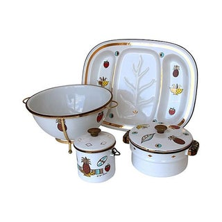 Georges Briard Enamelware Set - 7 Pieces For Sale