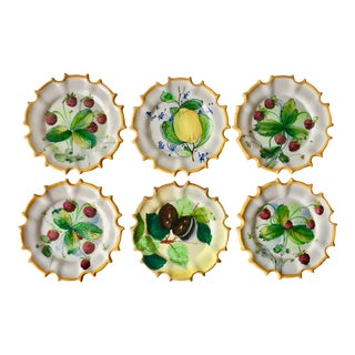 6 Italian Faience Hand-Painted Coasters For Sale