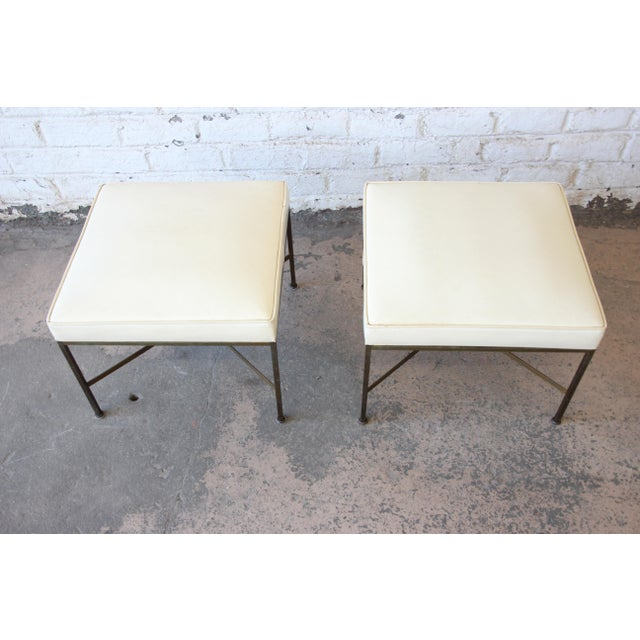 Paul McCobb for Directional X-Base Brass and Upholstered Stools or Benches, Pair For Sale In South Bend - Image 6 of 11