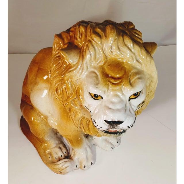 Vintage Italian Lion Terra Cotta Figurine For Sale - Image 4 of 13