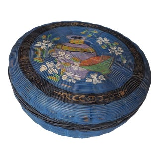 19th Century Late Victorian Chinese Hand Painted Sewing Basket For Sale