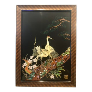 Japanese Bird and Cherry Blossom Framed Reverse Glass Painting For Sale