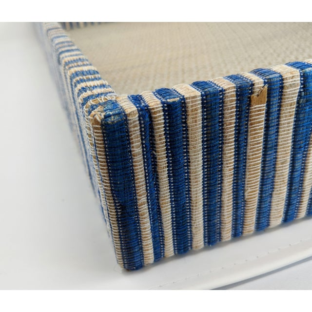 Navy Blue Organic Rectangular Woven Tray With Cotton and Rattan For Sale - Image 8 of 10