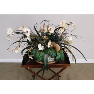 Asian Porcelain Flower Pot With Artificial Flowers Preview