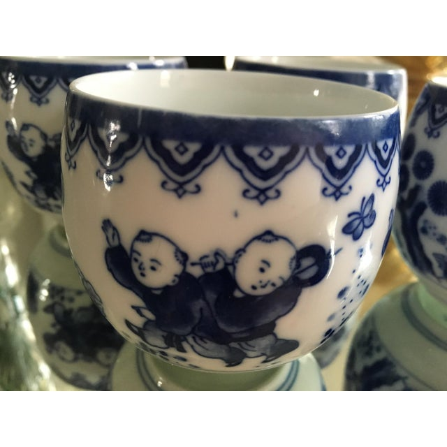 Blue & White Porcelain Tea Cups - Set of 4 - Image 4 of 8