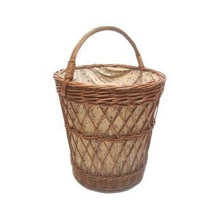 European Wicker Laundry Basket For Sale