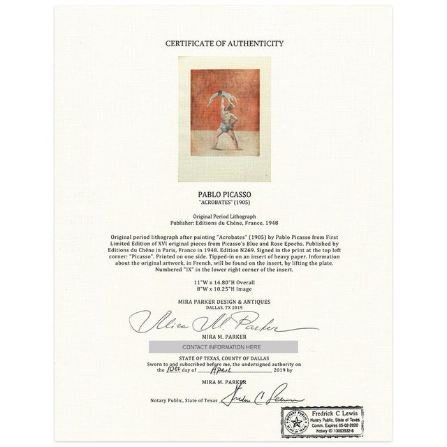 1948 Pablo Picasso, Original Acrobats Period Lithograph With C. O. A. For Sale - Image 10 of 10