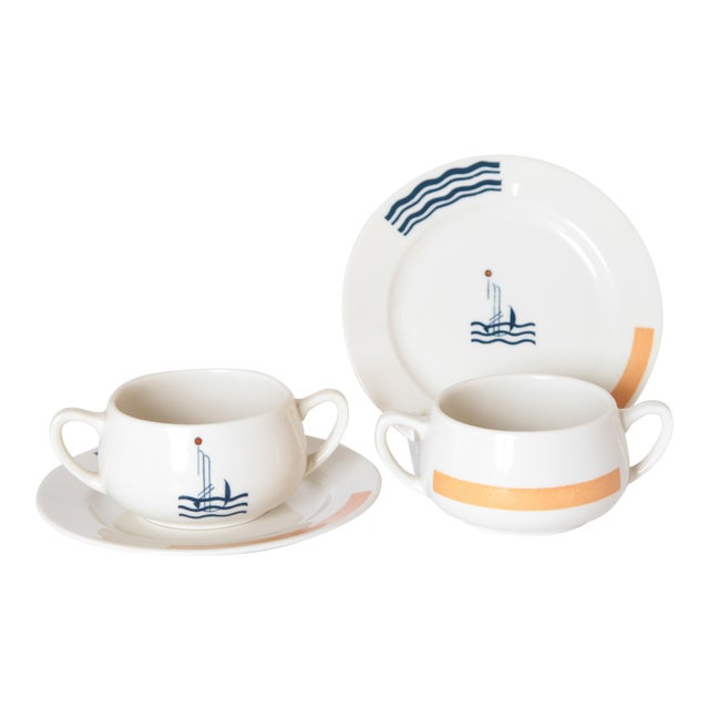 Pair Signed S.S. Leviathan Two-Piece Matched Serveware, Eugene Schoen and Lee Schoen by OPCO Syracuse China For Sale