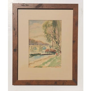 1924 Original Vintage Watercolor River Scene For Sale