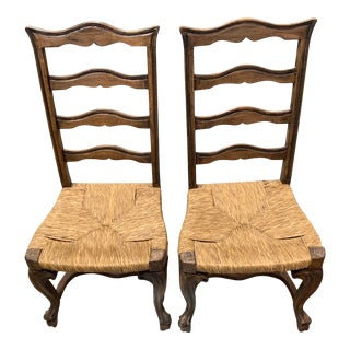 Late 20th Century French Country Rush Seat Chairs - a Pair For Sale