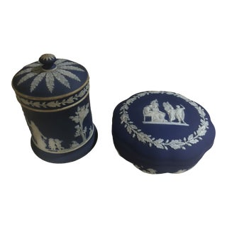 Wedgewood Jasper Blue & Cream Jar & Box - A Pair For Sale