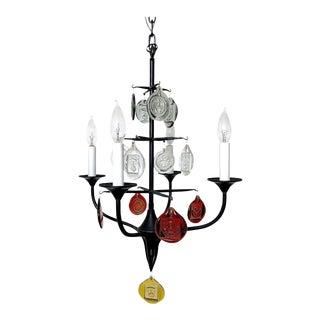 Erik Hoglund Iron & Glass Candelabra Chandelier, Circa 1950's For Sale