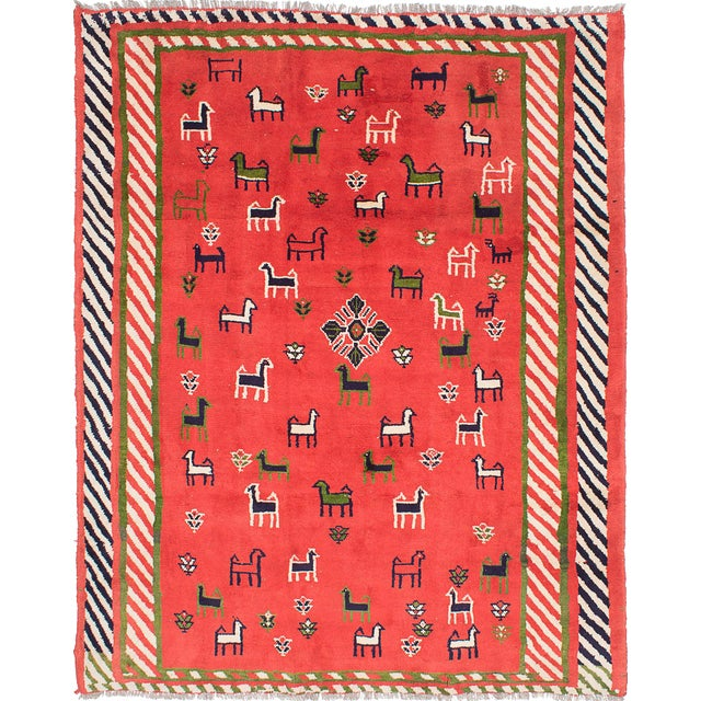 Vintage Animal Pattern Persian Gabbeh Rug - 7′11″ × 9′8″ For Sale