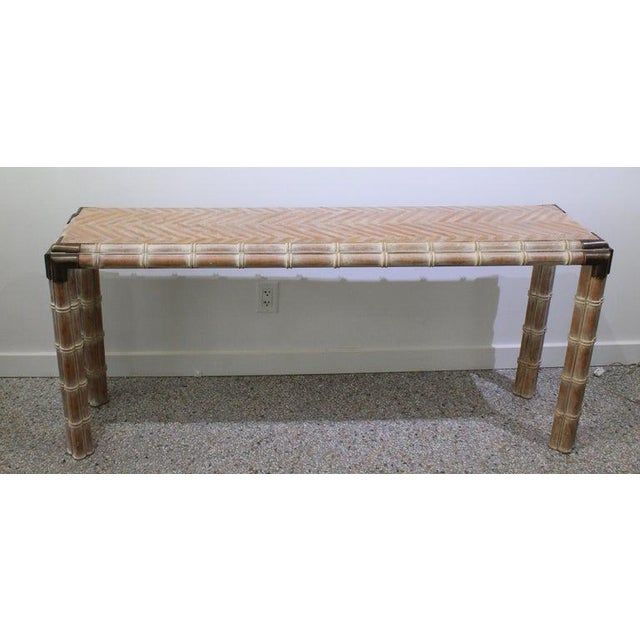 Console Table Faux Bamboo With Antique Brass Mounts - from a Palm Beach estate. Note - we have a pair of matching stools...