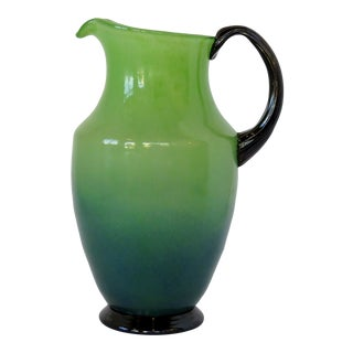Green & Blue Glass Pitcher For Sale