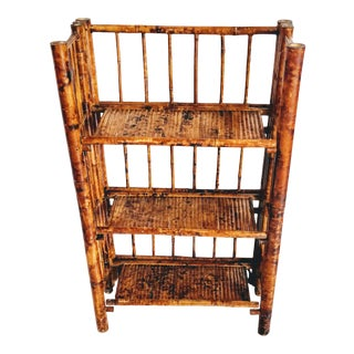 Mid 20th Century Rattan Bamboo Shelf Fold-Up Collapsible For Sale