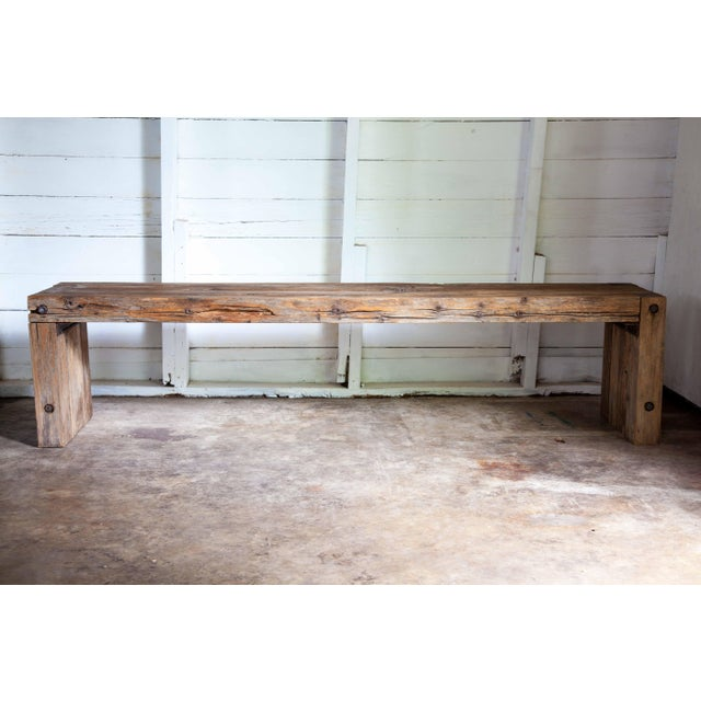 """Reclaimed Wood Parsons Dining Entry Bed Bench Coffee Table 70"""" For Sale - Image 11 of 11"""