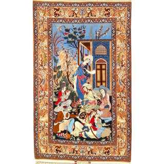 "Pasargad N Y Persian Isfahan Atighechian Signed Rug - 5'3"" X 8'6"" For Sale"