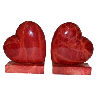 1950s Vintage Italian Red Alabaster Stone Heart Bookends - a Pair For Sale