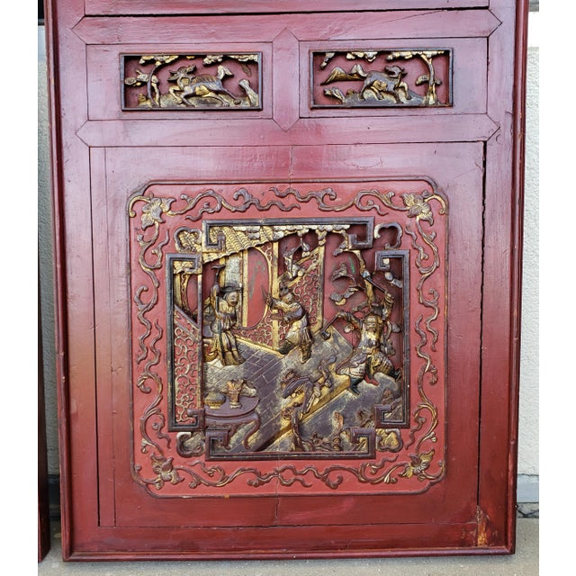 Wood Late 19th Century Chinese Carved Gilded Lacquered Wood Imperial Court Motif Panels - a Pair For Sale - Image 7 of 9