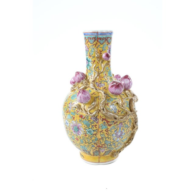 Chinese Famille Yellow & Pink Vases - A Pair - Image 5 of 9