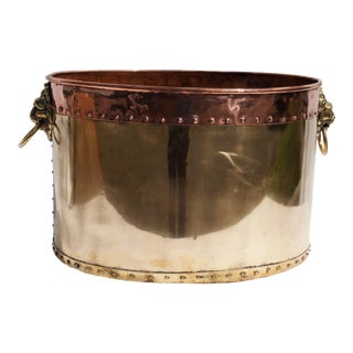 Large English Oval Brass and Copper Planter For Sale
