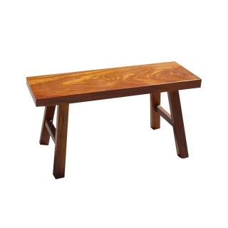 Oriental Zen Natural Okan Wood Solid Seat Plank Bench For Sale