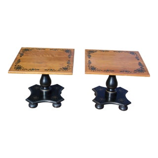 Pair Vintage Black Painted Ethan Allen Stenciled Pedestal End Tables Nightstands For Sale
