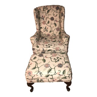 Ethan Allen Traditional Wingback Chair & Ottoman