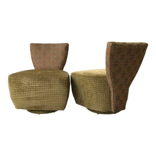 Carter Post Modern Sculptural Fan Shaped Back Swivel Lounge Chairs- A Pair For Sale