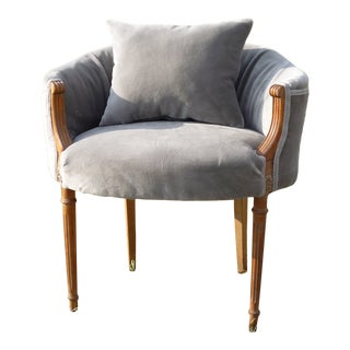 French Antique Gray Mohair Dressing Table Chair For Sale