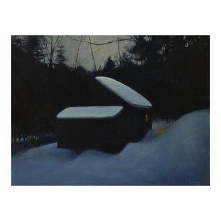 """Cozy"". Painting of a Snow-Covered Camp at Night"