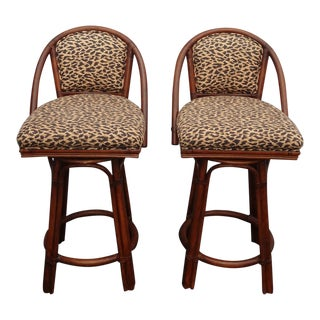 Pair Vintage Mid Century Bamboo Rattan Swivel Leopard Print Gold Bar Stools For Sale