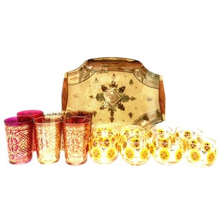 Mid-Century Venetian Style 22-Karat Gold Drinks By, Georges Briard - 15 Pieces For Sale