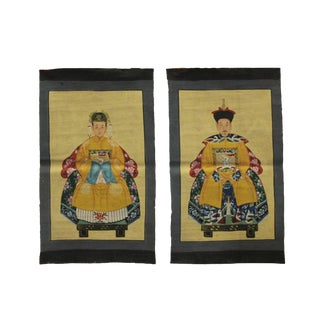 Pair Chinese Small Canvas Color Ink Royal Lady Gentleman Ancestor Paint Art For Sale