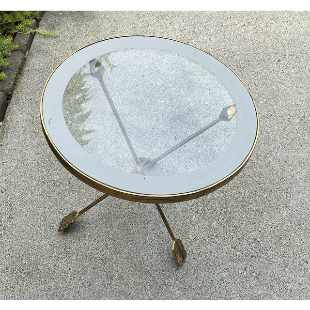 Mid-Century Modern Golden Arrows Gueridon Side Table For Sale - Image 3 of 5