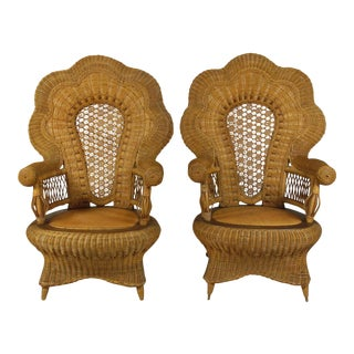 19th Century Victorian Wicker Arm Chairs - a Pair For Sale