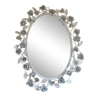 Vintage White Metal Tole Wall Mirror For Sale