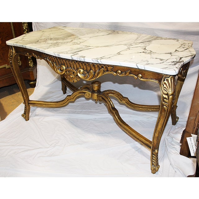 Italian Rococo Carved & Gilded Wood Console Table For Sale - Image 7 of 10