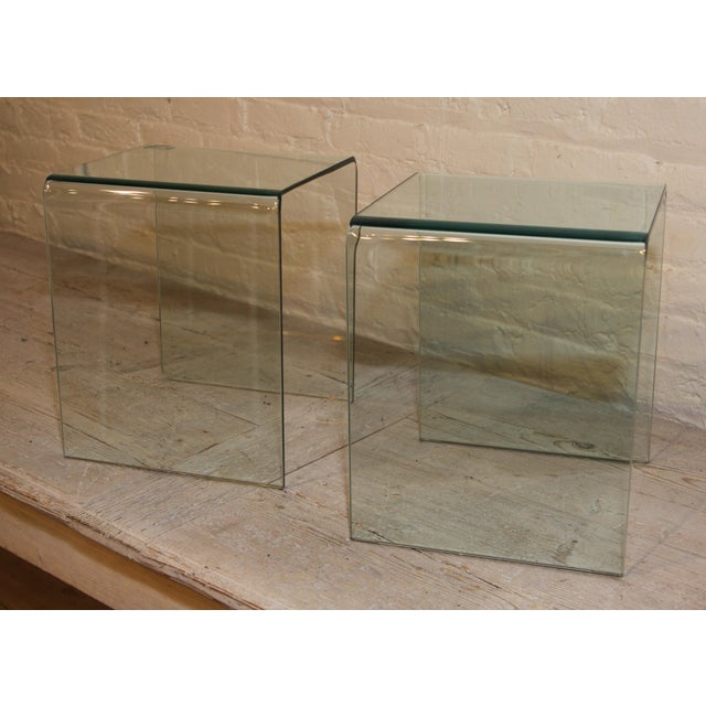 Modern Vintage French Glass Side Tables, a Pair For Sale - Image 3 of 5