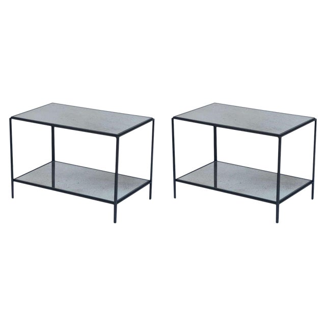 Contemporary Design Frères 'Rectiligne' Wrought Iron and Mirror End Tables - a Pair For Sale