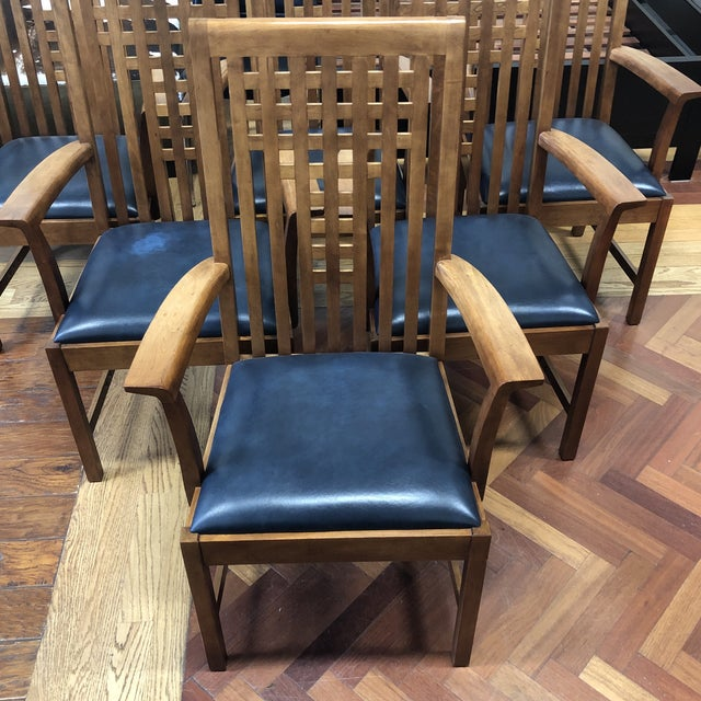 Stickley Stickley Furniture Metropolitan Collection Lattice Back + Leather Armchairs- Set of Six For Sale - Image 4 of 13