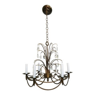Mid-Century Modern Crystal Swedish Chandelier For Sale