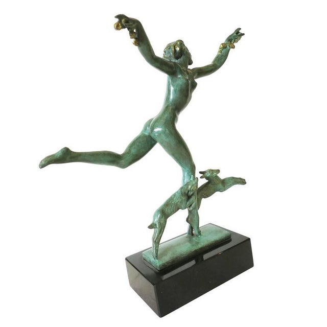 Derenne Style Art Deco Nude Dancing Nymph Bronze Statue with Black Marble - Image 3 of 8