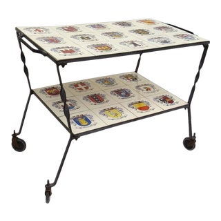 Vintage Iron and Coat of Arms Heraldic Tile Topped Bar Cart For Sale