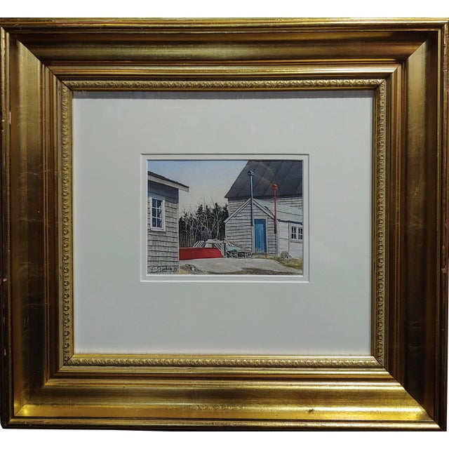 Gregory Dunham - the Cottage W/Blue Door- Watercolor Painting For Sale