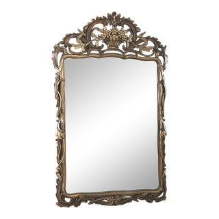 19th Century Italian Baroque Hand-Carved Giltwood Mirror For Sale