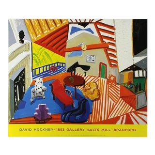 Vintage Original 1988 David Hockney Sitting Room, Los Angeles Malcam Bradford Hall Exhibiiton Poster For Sale